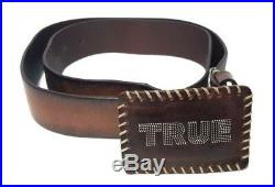 True Religion Made in Italy Mens Brown Leather Belt Size 32