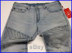 True Religion Men Distressed Ripped Moto Biker Rider Relaxed Skinny Jeans Pants
