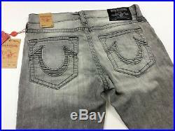 True Religion Men Distressed Ripped Slim Fit Stretch Moto Biker Jeans 34x34 Gray