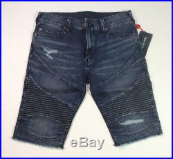 True Religion Men Geno Relaxed Slim Moto Biker Stretch Cutoff Jeans Shorts Pants