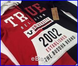 True Religion Men Vintage Retro Wash Buddha Stadium Pullover Sweatshirts Hoodie
