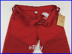 True Religion Men Vivid Red Moto Biker Slim Jeans 30x32