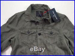 True Religion Men Vtg Wash Distressed Shredded Stretch Denim Jean Trucker Jacket