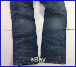 True Religion Men Vtg Washed Side-Straps Distressed Ripped Shredded Slim Jeans