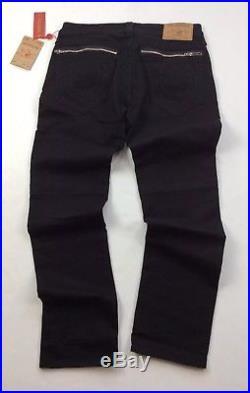 True Religion Men Zip-Pocket Moto Biker Rider Slim Stretch Jeans Black Embellish
