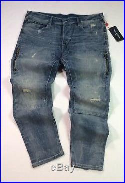 True Religion Men Zip Pockets Distressed Ripped Shredded Stitch Work Taper Jeans