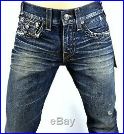 True Religion Men's $249 Ricky Gothic Ruin Relaxed Straight Jeans 100705