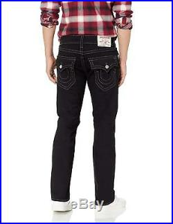 True Religion Men's Big T Straight Stretch Jeans with Flap in Body Rinse Black