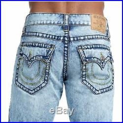 True Religion Men's Big T Straight Yellow Stitched Jeans with Flaps in Rocky Mist