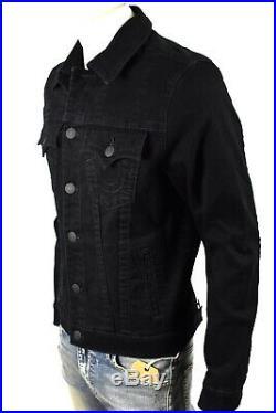 True Religion Men's Black Body Black Slim Trucker Denim Jacket 102645