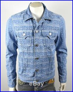 True Religion Men's Blue Mojave Ikat Print Slim Denim Trucker Jacket 102024