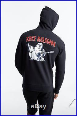 True Religion Men's Buddha Logo Zip-Up Hoodie Sweatshirt in Black