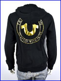 True Religion Men's Classic Metallic Puff Print Zip Hoodie Sweatshirt 102148