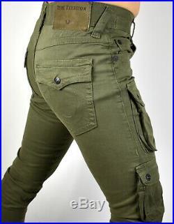 True Religion Men's Dusty Olive Utility Cargo Skinny Jeans M18FD24P9G Size 28