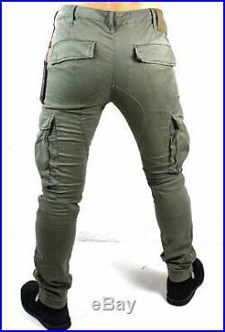 True Religion Men's Dusty Olive Utility Cargo Skinny Jeans M19UD25G1G