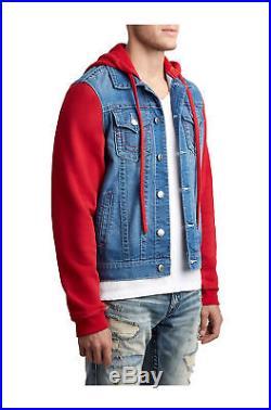 True Religion Men's Fleece Denim Trucker Jacket with Hood in Red Saloon