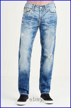 True Religion Men's Geno Slim Super T Jeans with Rips in Indigo Tide