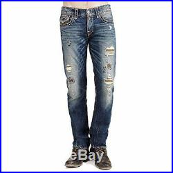 True Religion Men's Geno Super T Slim Fit Distressed Jeans in Patched Recruit