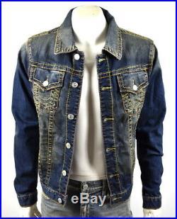 True Religion Men's Hand Picked Slim Multi Big T Denim Trucker Jacket 101344