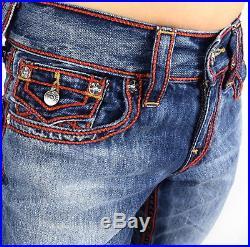 True Religion Men's Hand Picked Straight Red Chainstitch Super T Jeans 101241