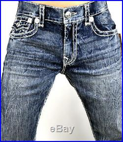 True Religion Men's Hand Picked Trail Blue Relaxed Skinny Super T Jeans 100683