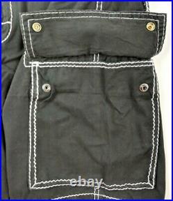 True Religion Men's Jet Black Cargo Shorts Big T Size 36 White Stitch NWT