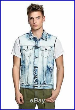 True Religion Men's New Jean Jacket Size M Medium Cotton Zip Off $299 Retail