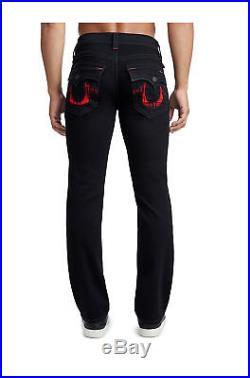 True Religion Men's Plaid Insert Big T Straight Stretch Jean in Black Body Rinse