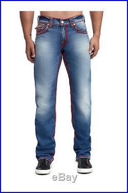 True Religion Men's Red Silk Chainstitch Ricky Straight Leg Jeans in Set Sail