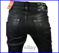 True Religion Men's Ricky Big T Relaxed Straight Coated Jeans 103381