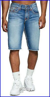 True Religion Men's Ricky Super T Straight Denim Jean Shorts in Americana Aqua