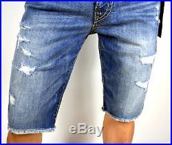 True Religion Men's Ricky Super T Worn Riff Stretch Shorts MDAC08724H