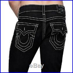 True Religion Men's Rocco Big T Skinny Fit Stretch Jeans in Black Midnight