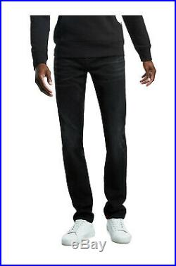 True Religion Men's Rocco Big T Skinny Fit Stretch Jeans in Black Mischievous