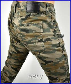 True Religion Men's Rocco Relaxed Skinny Drift Camo Moto Jeans 100838