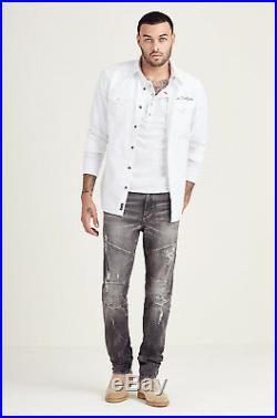 True Religion Men's Rocco Skinny Moto Destruction Jeans in Worn Grey Rebellion
