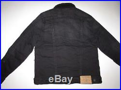 True Religion Men's Sherpa Trucker Denim Jacket NWT Black Night Stand $269