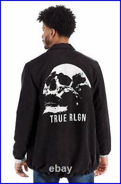 True Religion Men's Skull Graphic Elongated Full Zip Trainer Jacket in Black