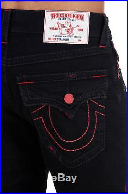 True Religion Men's Straight Big T Jeans with Flaps in Night Stand Black (34, 36)