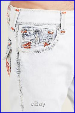 True Religion Men's Straight Mega T Orange Stitch Jeans with Flap in Angels Hue