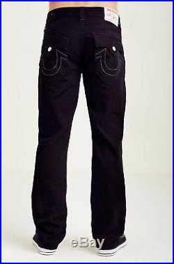 True Religion Men's Straight Relaxed Fit Jeans with Flap Pockets in Jet Black