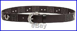 True Religion Men's TR Horseshoe Metal Studded Leather Belt in Black