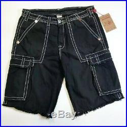 True Religion Mens 100% Authentic Faded Black Cargo Issac Shorts 1of1 Rare New