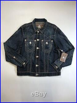 True Religion Mens 100% Authentic Jean Blue Denim Zip Jimmy Super Ls Jacket New