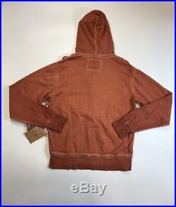 True Religion Mens 100% Authentic Orange Classic Long Sleeve Zip Up Hoodie Rare