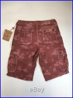 True Religion Mens 100% Authentic Red Sky Recon Camo Cargo Shorts 1of1 New Rare