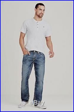 True Religion Mens $329 Jeans Relaxed Straight Red Super T Hard Indigo MNR859VA5