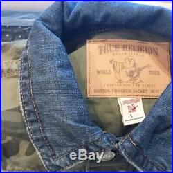 True Religion Mens Trucker Denim Jacket size L $249 NEW