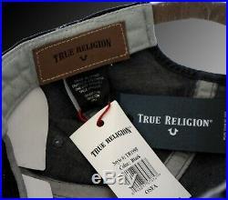 True Religion Raised Logo Denim Baseball Cap Hat TR1995 Black (One Size)