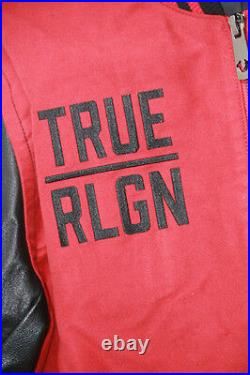 True Religion Red Black Leather Collegiate Moleskin VARSITY Small S